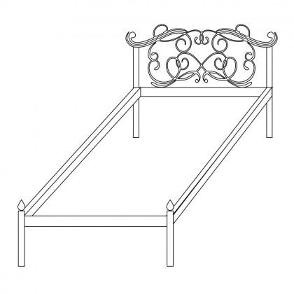 Кованая кровать без изножья по эскизу 1