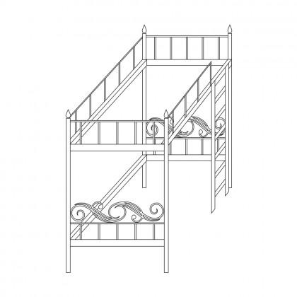 Кованая кровать чердак по эскизу 1
