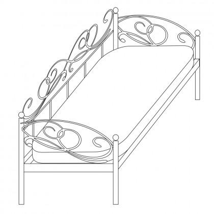 Кованая кровать с тремя спинками по эскизу 1
