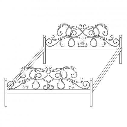 Двуспальные кованые кровати по эскизу 1