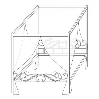 Кованая кровать с балдахином по эскизу 1