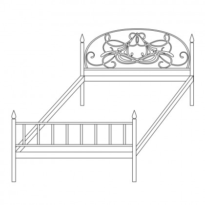 Кровать с кованой спинкой по эскизу 1