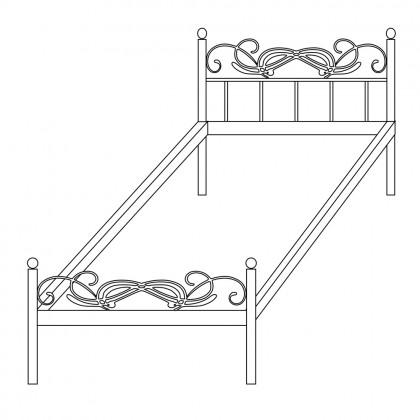 Односпальные кованые кровати по эскизу 1