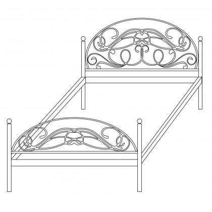 Полутороспальные кованые кровати по эскизу 1